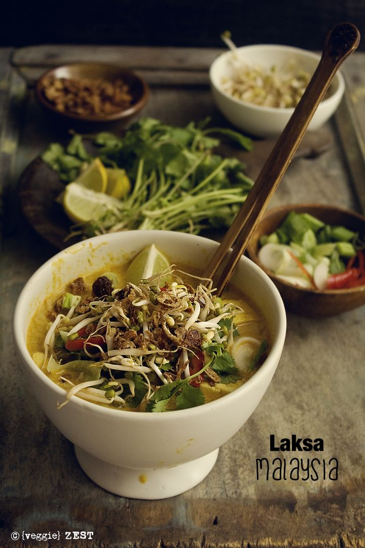 The second recipe under Vegetarian Asian food is Laksa. A yummy, spicy coconut base soup served with noodles and many other toppings. You can find Laksa in Malaysian, Singaporean and Indonesian cui...