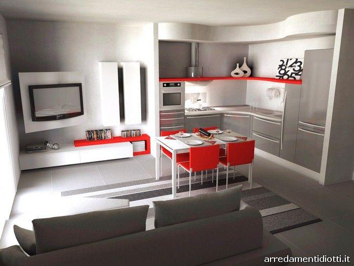 Cucina Skyline e soggiorno Link con porta tv - DIOTTI A&F Arredamenti