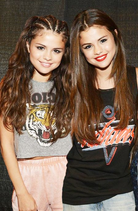 I do not get who the right one is probably the right is arianna grande and the left is Selena Gomez i know it looks like her twin