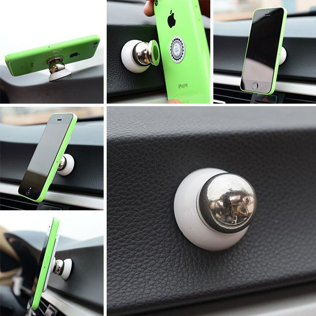 Silver Magnetic Universal Mobile Phone Mount Stand Metal Car Cellphone Holder /…