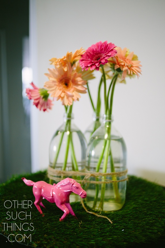 Neon Gerberas and pink ponies at Melbourne Cup Luncheon at Majestic Roof Garden Hotel. Photo by Other Such Things.