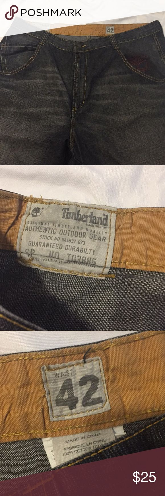 """Men's Timberland jeans dark grey wash size 42 Men's Timberland jeans dark grey wash size 42- inseam 32"""". Great condition. Very small amount of fray on cuffs, shown in pics. Timberland Jeans Relaxed"""