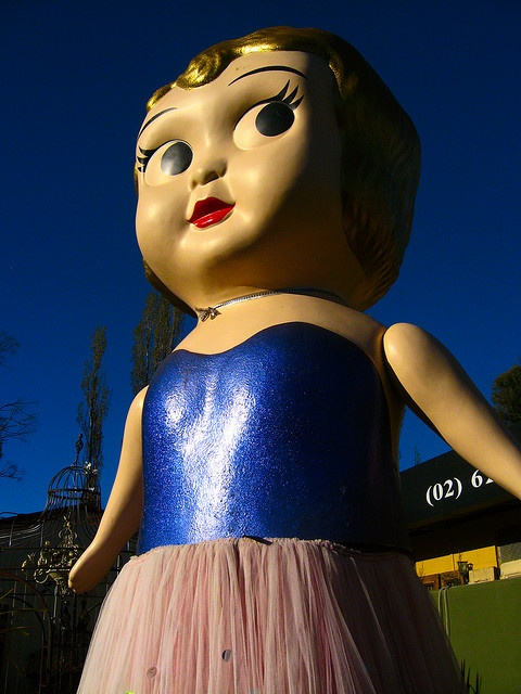 Giant Kewpie Doll from Sydney Olympics, 2000, Opening Ceremony.  Living at a  Bungendore secondhand shop
