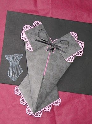 paper corset...I'd definitely do this as an invite for a girl party!