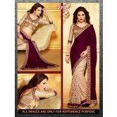 designer-cream-and-maroon-jacquard-velvet-fabric-saree