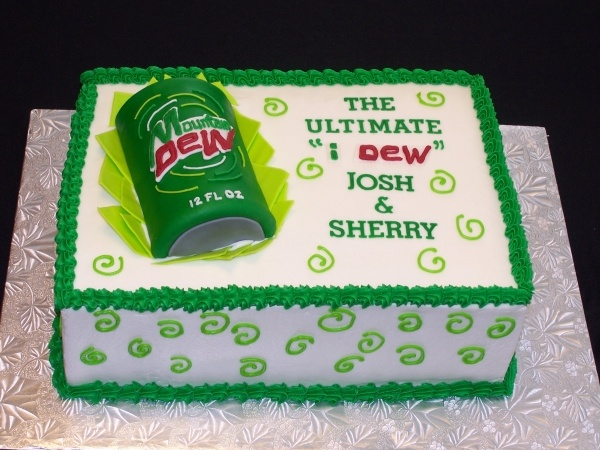 I found something similar to this a long time ago, Mountain Dew groom's cake would be perfect for Dust