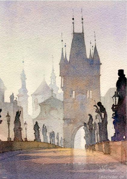 Charles Bridge~Prague~Thomas W. Schaller #watercolor jd