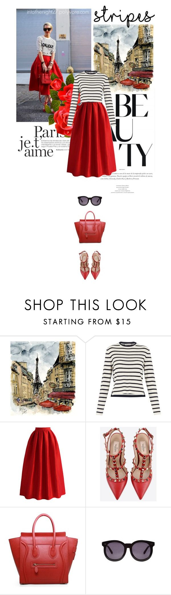"""#214 - One Direction: Striped Shirts"" by intothenight27 ❤ liked on Polyvore featuring mode, Whistles, Chicwish, CÉLINE et Karen Walker"