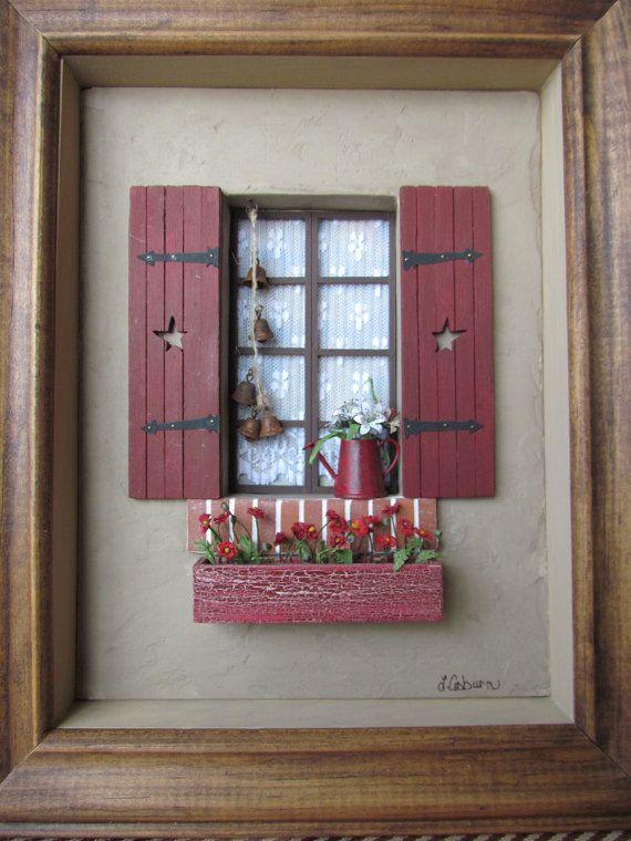 ••  Casa de muñecas escena Vignette Diorama arte caja de sombra 12 escala 'Borgoña' Handcrafted. Aprox. 9'' x 11'' x 2''