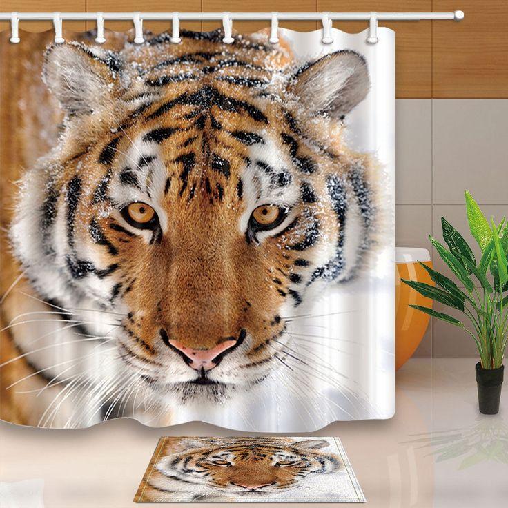 "Wild Animal Fabric Shower Curtain Set Tiger Head Bathroom Curtain With Hooks 71"""