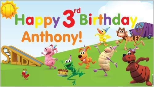 Custom Vinyl PBS Word World Birthday Party Banner Decorations + Child's Name - A beautiful showpiece for your child's birthday and a wonderful keepsake. Dimensions: 3' x 1.6' Printed on high quality, white 10oz. vinyl, which is flexible material with a matte finish and is fade-resistant, tear-resistant, and flame-retardant. Banners are professionally printed and are shipped rolled. Your banner will never be folded, so it will have no creases. $29.95