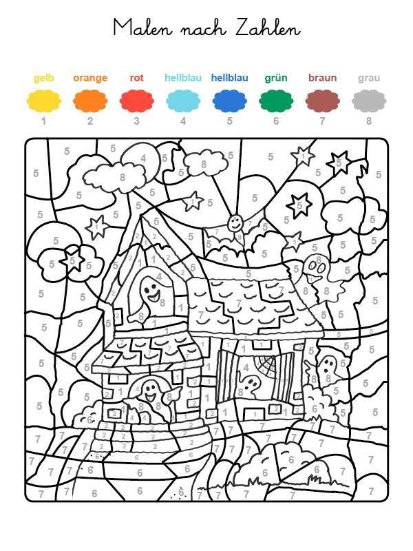 Wenn Ihr Kind Das Ganze Motiv Auf Der Halloween Vorlage Mit Den Farben Ausgemalt Hat Die Den Halloween Vorlage Halloween Ausmalbilder Malen Nach Zahlen Kinder
