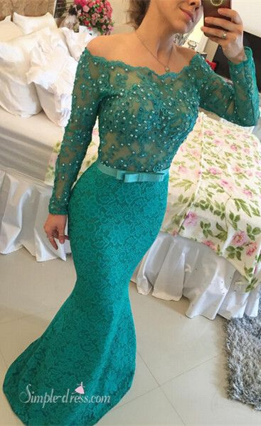 2016 long prom dresses, mermaid lace prom dresses, long sleeves prom dresses with ribbon