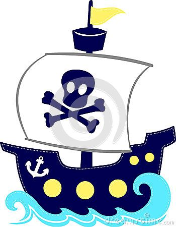 Funny illustration of pirate ship cartoon isolated on white background