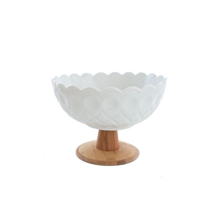 Esta frutera es un objeto muy especial para tu cocina, cuenta con una linda forma y  base de maderaMaterial: loza y maderaMedidas: La 25cm Al 7cm An 25cm