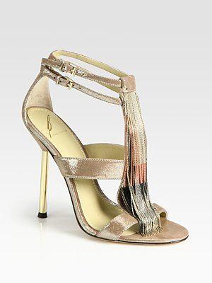 Fine!!  B Brian Atwood Lenoire Metallic Leather Metal-Fringe T-Strap Sandals