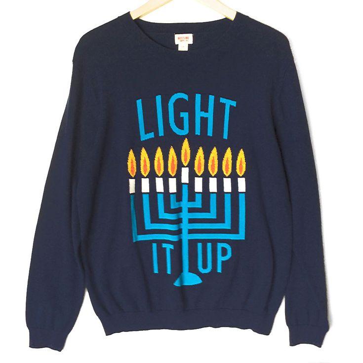 Light It Up Men's Ugly Hanukkah Chanukah Sweater