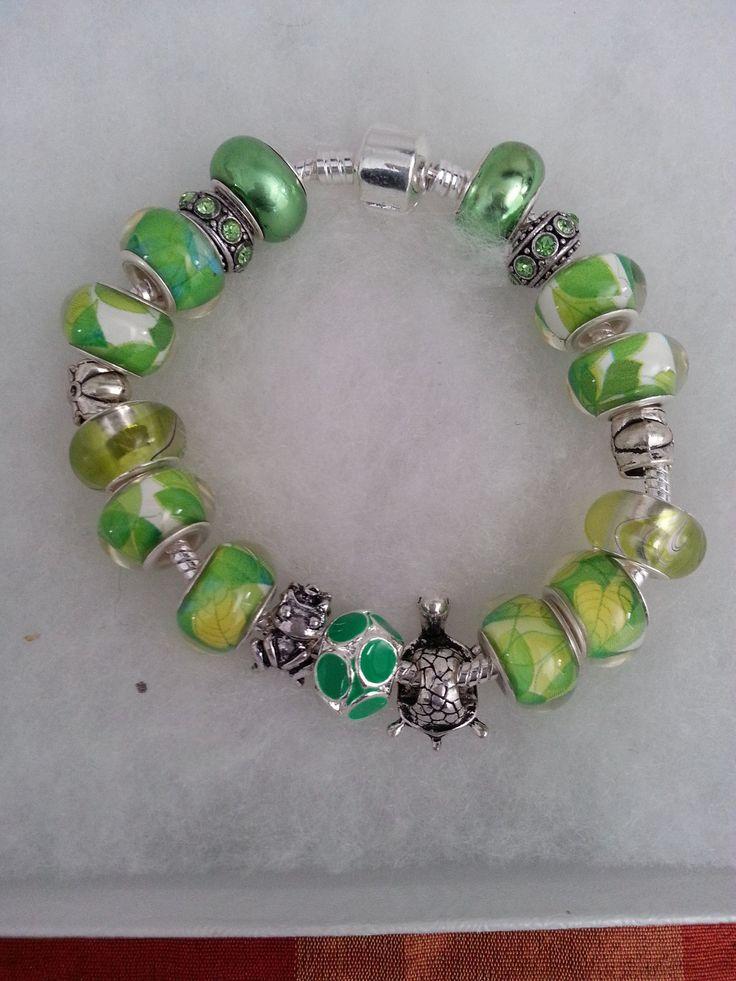 BAB 291 .925 Silver Pandora Style Charm Bracelet with 18 Beads