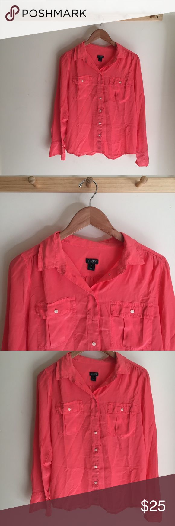 J. Crew Blythe 100% Silk Pink Coral Blouse Medium In great condition! J. Crew Tops Blouses