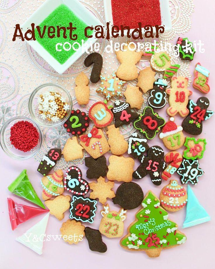【 Christmas advent calendar kit 】アドベントカレンダーキット🎁🎄🎅🏻🗓♥️ 25枚のクッキーとアイシングクリーム、デコレーション素材がセットになった商品です♪ . 12/2(土)のY&Csweetsクリスマスイベントにて受け渡し&お支払いとなる予約販売品です💕 Y&CsweetsのONLINESHOP より是非チェックしてね!💁🏻