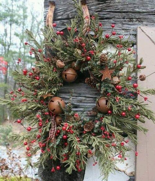 Rusty Jingle Bells on Rustic Wreath on Barnwood.