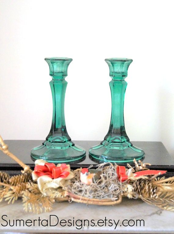 Pair emerald candlestick holders  green  emerald by SumertaDesigns