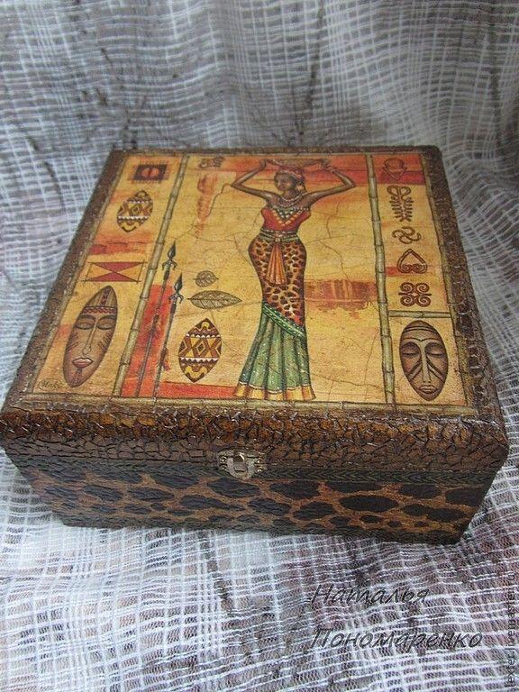 Купить Шкатулки ручной работы. Шкатулка Африка - оранжевый, африка, африканский стиль, африканские мотивы