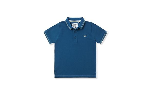 "Navy Plain Polo. ""A classic polo shirt is always a stylish choice for sporty little boys."""