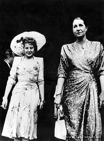 Eva Peron and Mme Vincent Auriol, wife of the French President, leaving their house in Rambouilllet. July 1947