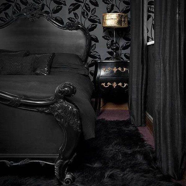 Bedroom, Scary Dark Black Halloween Bedroom Interior Decor ...