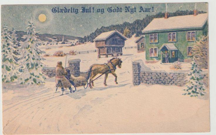 Glædelig Jul Og Godt Nytår Merry Christmas and Happy New Year Postcard 1925 F53 #Christmas