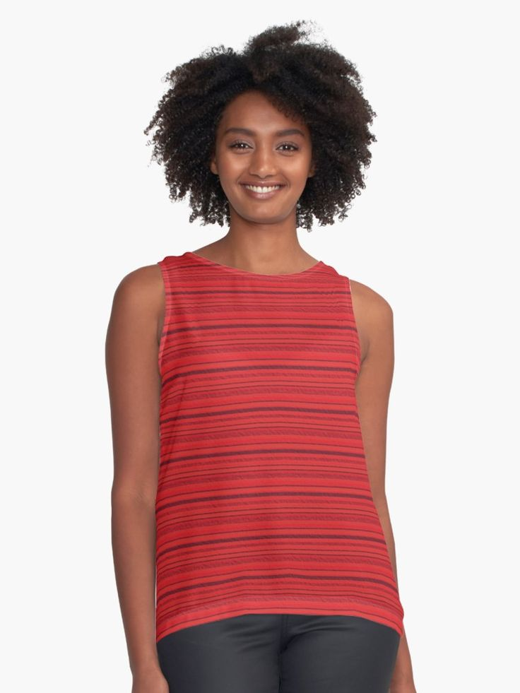 Refracted Stripes Red Contrast Tank by Terrella.  Refracted light on stripes of various shades of red • Also buy this artwork on apparel, phone cases, home decor, and more.