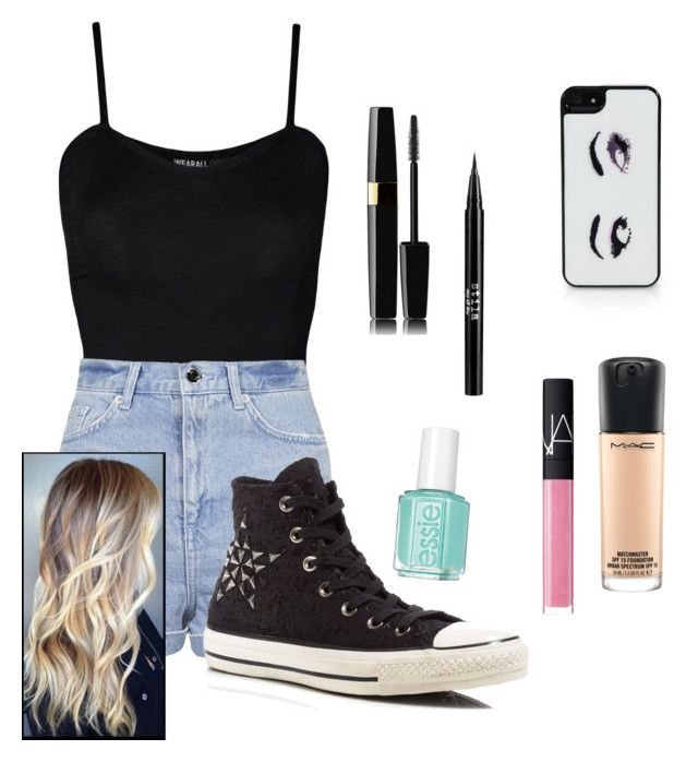 """""""Makeup and outfit"""" by makayla-simpson on Polyvore featuring WearAll, Topshop, Converse, Kate Spade, Stila, MAC Cosmetics, NARS Cosmetics and Essie"""
