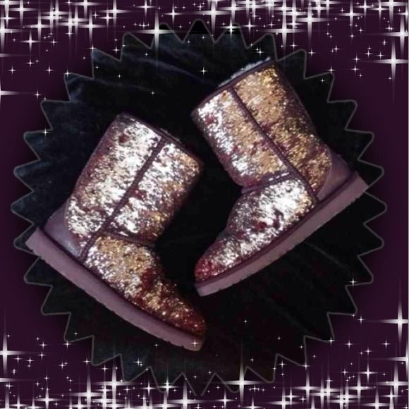 ✨HP ✨Authentic Ugg Sparkle Boots Sangria sparkle Ugg boots. These were worn only a couple of times and are in great condition!! Women's size 7. Price is firm. No trades. (No box) pic 4 is a collage of images I found online because it was hard to show the details with the pics I took. Pics 1,2 & 3 are my actual boots.  this is my lowest unless bundled, thanks:) UGG Shoes