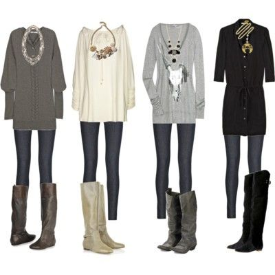big sweaters, tights & boots. Love the look. Is it winter yet??