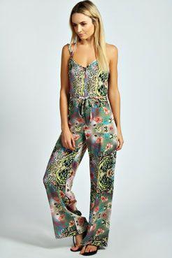 Felicity Animal Scarf Print Swing Style Jumpsuit at boohoo.com