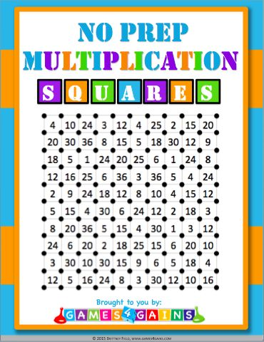 """Mathified"" squares game - a fun, no-prep multiplication facts game to use in your math centers!"
