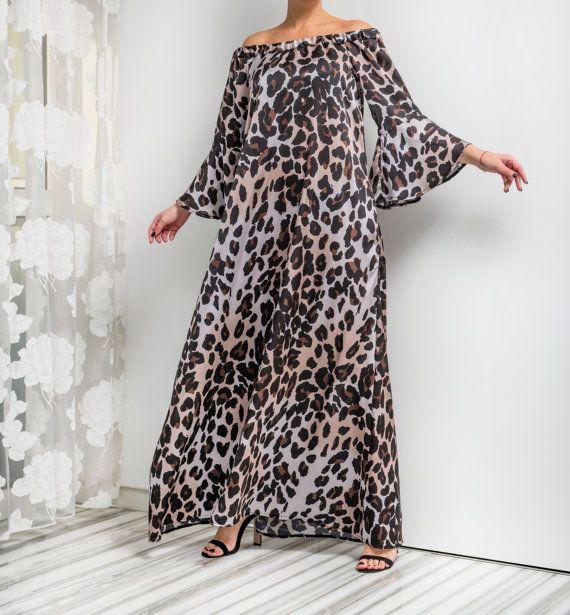 NEW SPRING 2016 Leopard Maxi dress Ruffle by cherryblossomsdress