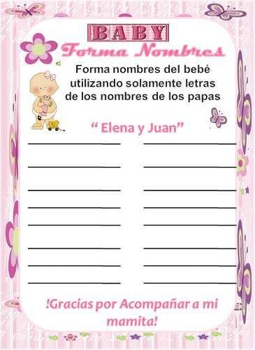 Juegos de baby shower: Forma nombres | Manualidades para Baby Shower