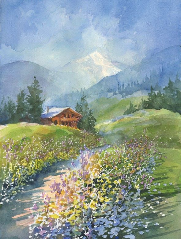 watercolor painting of the alps by Robert Gantt Steele