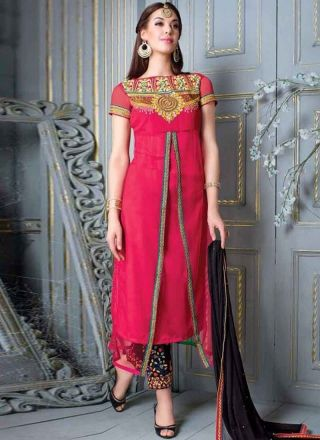 Fantastic Pink Embroidered Georgette Festival Wear Churidar Suit  #Suits #Salwar   http://www.angelnx.com/Salwar-Kameez