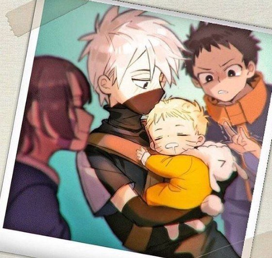 Kakashi, Obito, Rin, and baby Naruto