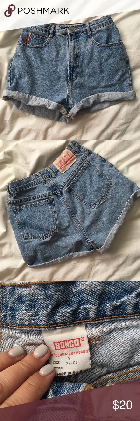 Vintage high waisted jean shorts Vintage Bongo jean shorts that are making a comeback! Lightwash denim. High waisted. Measure 13 across the waist when layed flat. Marked as a size 9, but vintage sizing runs small. Fit a size 26/37 best. Vintage Shorts Jean Shorts