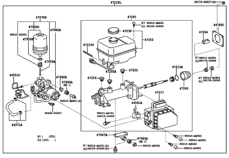 47-02 BRAKE MASTER CYLINDER diagram, 10/2004 TOYOTA
