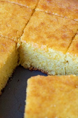 The Best Buttermilk Cornbread- Use 3/4 of sugar and honey to make a little less sweet