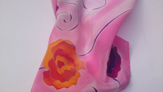 Silk scarf with orange and purple roses in pink background. Hand painted by SilkAgathe.