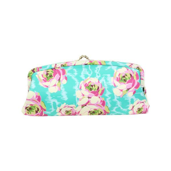 Women's Amy Butler Cameo Clutch - Flowing Buds Turquoise Purses ($72) ❤ liked on Polyvore featuring bags, handbags, clutches, turquoise, turquoise purse, clasp purse, multi colored handbags, colorful handbags and vintage purse