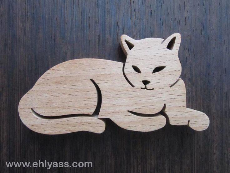 Sculpture en bois Chat 8 en chantournage