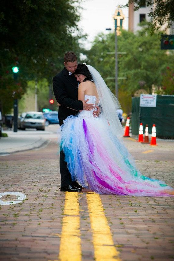 Rainbow Wedding Dress by SparkleFide on Etsy