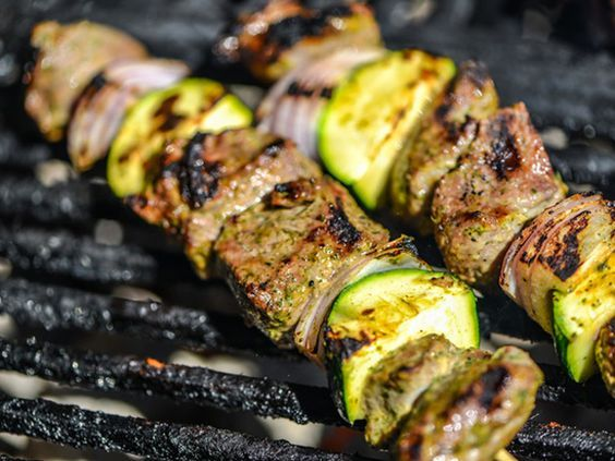 Flavor-packed Yogurt- and Mint-Marinated Lamb Skewers #grilling